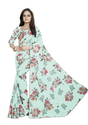 Light Grayish Cyan - Lime Green Color Digital Printed Georgette Saree With Matching Blouse