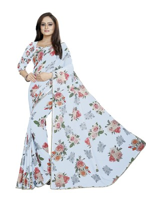 Light Grayish Blue Color Digital Printed Georgette Saree With Matching Blouse