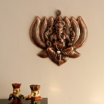 Lord Ganesha on Lotus Metal Wall Hanging