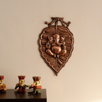 Lord Ganesha on Leaf Metal Wall Hanging