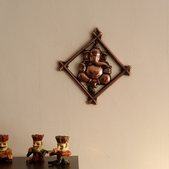 Lord Ganesha on Rhombus Frame Metal Wall Hanging