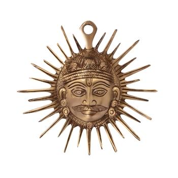 Smiling Surya Brass Wall Hanging