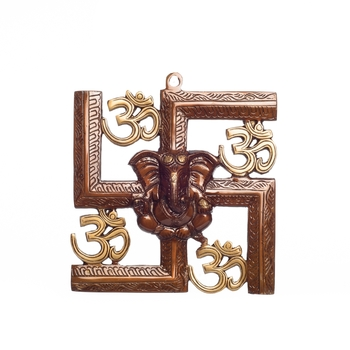 Swastika Om Ganesha Brass Wall Hanging