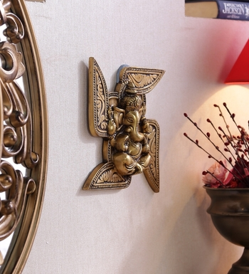Brass Lord Ganesha Swastika Wall Hanging