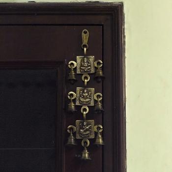 Brass Ganesha Laxmi Saraswati Wall Hanging Bells