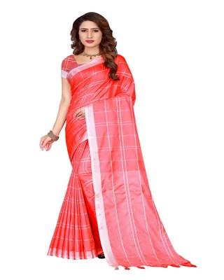 Pink plain faux linen saree with blouse