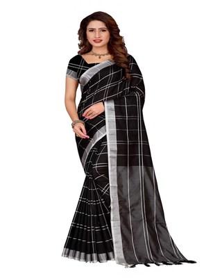 Black plain faux linen saree with blouse