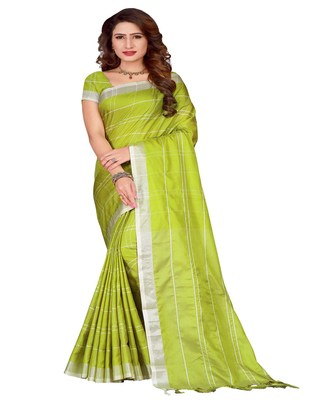 Light green plain faux linen saree with blouse