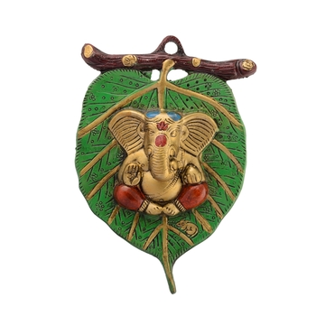 Lord Ganesha in Red Dhoti on Green Leaf Wall Hanging