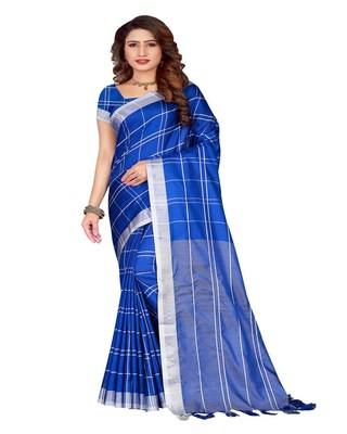 Blue Plain Faux Linen Saree With Blouse