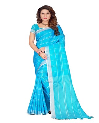 Sky blue plain faux linen saree with blouse