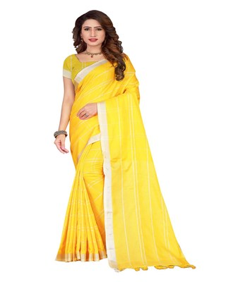 Yellow plain faux linen saree with blouse