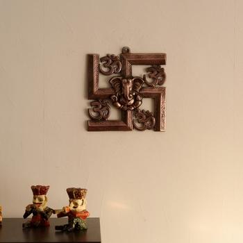 Lord Ganesha on Om Swastik Metal Wall Hanging