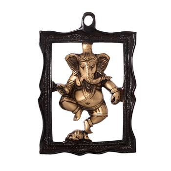 Ganesha in Frame Brass Wall Hanging