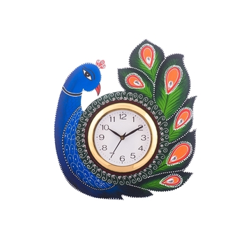 Exotic and Stylish Colorful Peocock Wooden Handcrafted Wooden Wall Clock (H - 15 Inch)