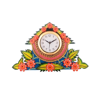 Splendid Floral Wooden Handcrafted Wooden Wall Clock (H - 19 Inch)
