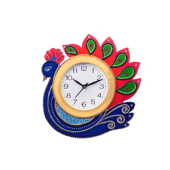 Handcrafted Papier-Mache Peocock Wall Clock