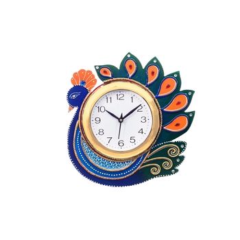 Handcrafted Papier-Mache Peocock Wall Clock