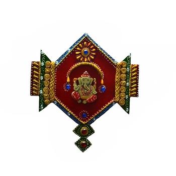 Papier-Mache Lord Ganesha Jewelled Wall Hanging