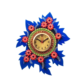 Handcrafted Papier-Mache Leaf Shape Wall Clock