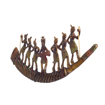 Tribal Folk Dancers on Shehnai Premium Brass Wall Hanging