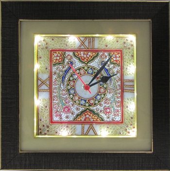 Embossed Peacock Marble Handcrafted Wall Clock with LED and Wooden Frame