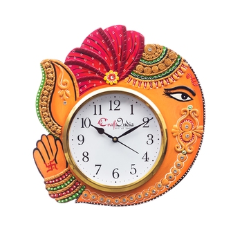 Handicraft Lord Ganesha Analog Wall Clock        (Orange & Red, With Glass)