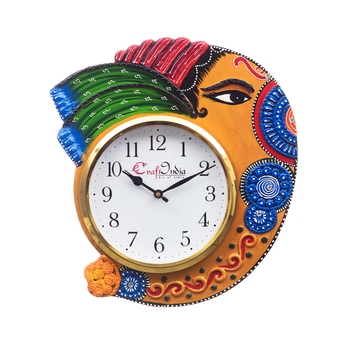 Handicraft Lord Ganesha Analog Wall Clock        (Orange & Blue, With Glass)