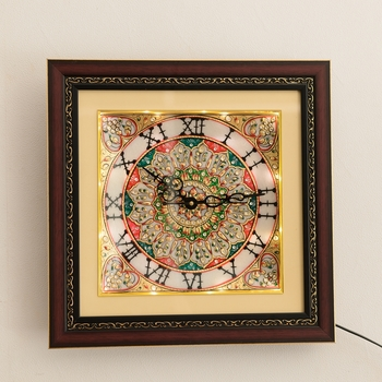 Golden Flowers Marble Handcrafted Wall Clock with LED & Wooden Frame