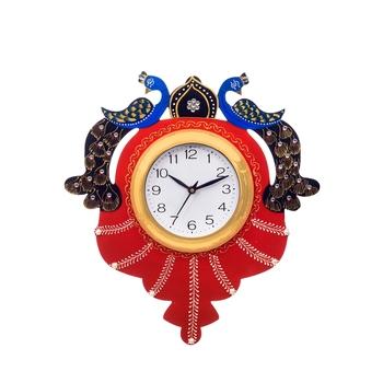 Handcrafted Papier-Mache 2 Peococks Decorative Wall Clock