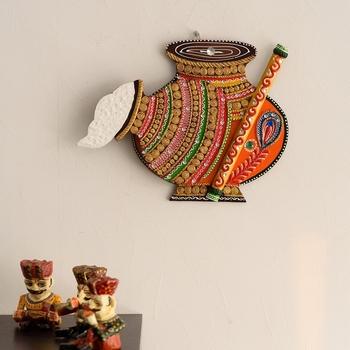 Makhan Matki Shape Papier-Mache Wooden Wall Hanging