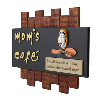 Wooden Mom's Cafe Wall Hanging Decorative Showpiece