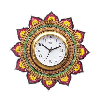 Handicraft Lord Ganesha Analog Wall Clock        (Yellow & Green, With Glass)