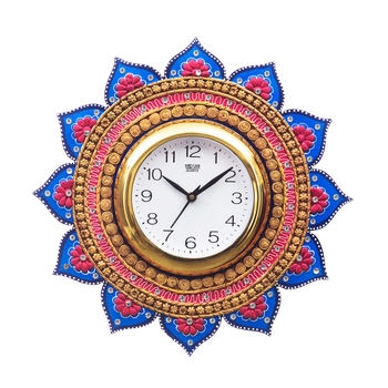 Analog Wall Clock        (Gold & Blue, With Glass)