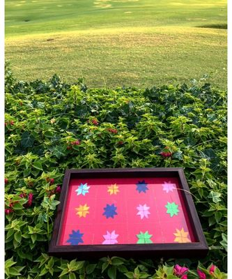 Medium Red Tray with Brown Frame
