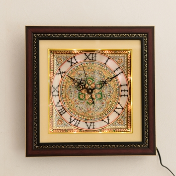 Decorative Floral Marble Handcrafted Wall Clock with LED & Wooden Frame