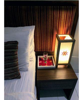 Table Lamp Pink , Yellow , natural finish