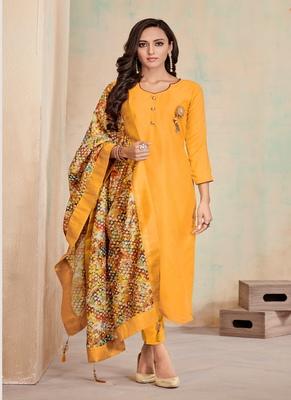 Yellow fancy cotton salwar