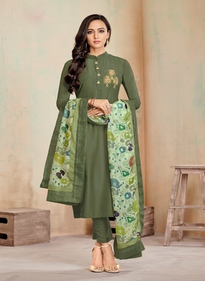 Mehendi Fancy Cotton Salwar