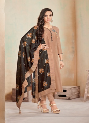 Dark-Beige Fancy Cotton Salwar