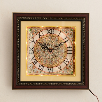 Radiant Floral Marble Handcrafted Wall Clock with LED & Wooden Frame