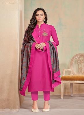Rani-pink fancy cotton salwar