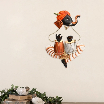 Musician Ganesha Playing Tabla Wall Hanging