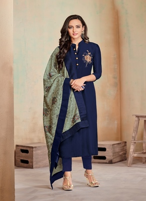 Navy-Blue Fancy Cotton Salwar