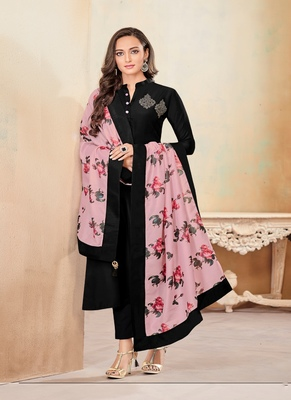 Black fancy cotton salwar