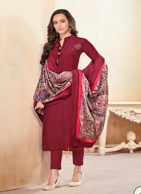 Crimson Fancy Cotton Salwar