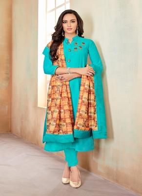 Sky-blue fancy cotton salwar