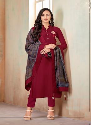 Maroon fancy cotton salwar