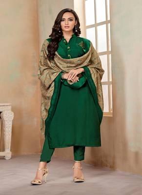 Dark-green fancy cotton salwar