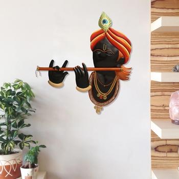 Iron Lord Krishna Playing Flute/Bansuri Wall Hanging